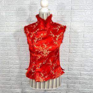 Vintage Red Gold Asian Oriental Fur Trimmed Vest